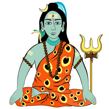 Shiva Mahadev India with  trident  vector illustration