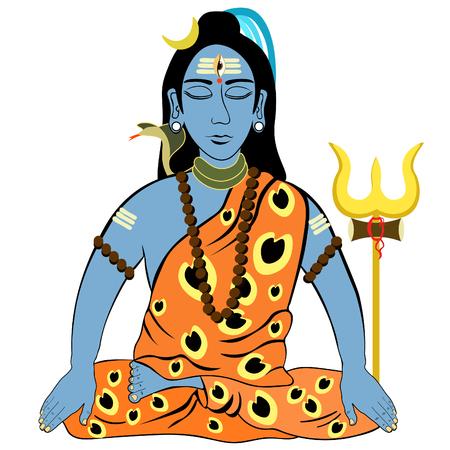 mahadev: Shiva Mahadev India with closed eyes trident. vector illustration