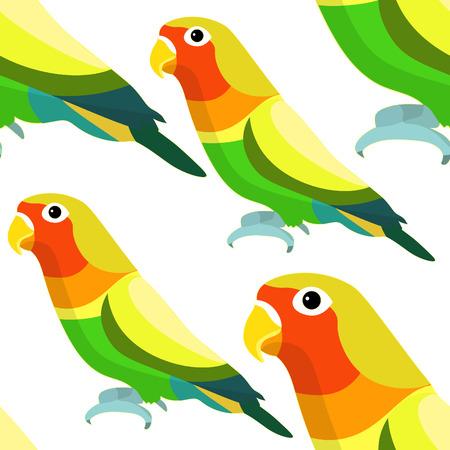 naadloze patroon tortelduifjes papegaai met een gele bek vectorillustratie