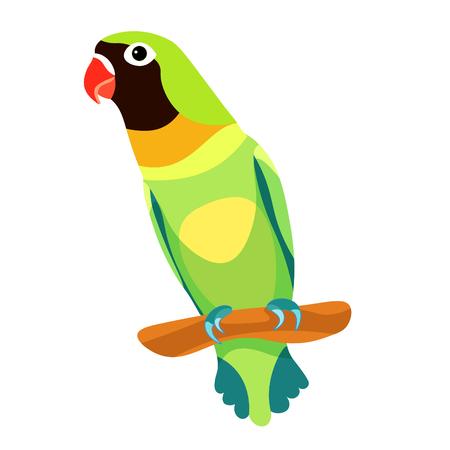 dwergpapegaai papegaaizitting hoofd werd zwart. vector illustratie