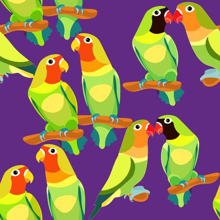 naadloze patroon tortelduif papegaai paar met een rode en zwarte kop op paars. vectorillustratie Vector Illustratie