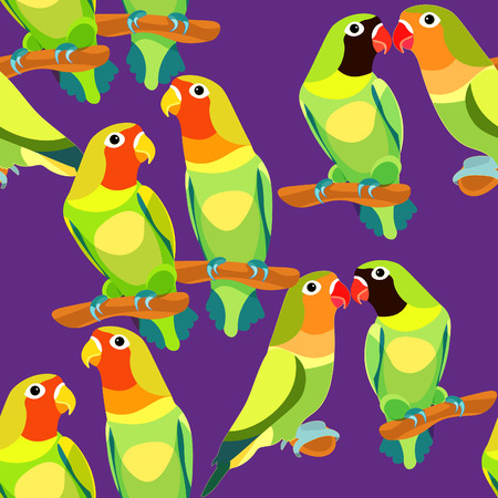 lovebirds: seamless pattern lovebirds parrot couple with a red and black  head on purple. vector illustration Illustration