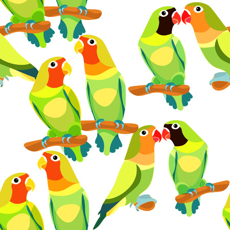 seamless pattern lovebirds parrot couple with a red and black  head. vector illustration