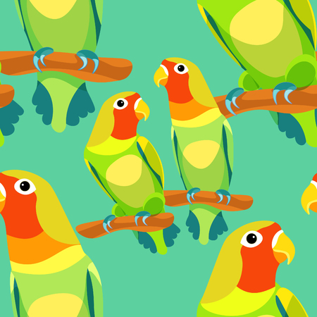 lovebird: seamless pattern lovebirds parrot with a red head on blue. vector illustration