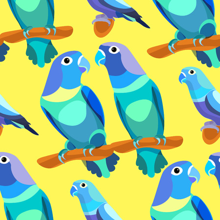 lovebirds: seamless pattern parrot lovebirds couple sitting head turned blue .vector illustration Illustration