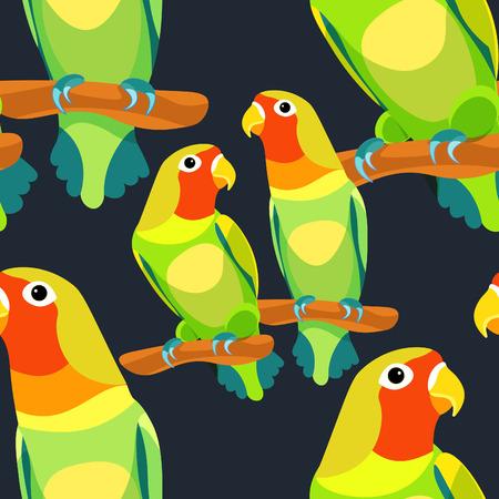 naadloze patroon papegaai lovebirds paar zittende hoofd draaide rode. vector illustratie Vector Illustratie