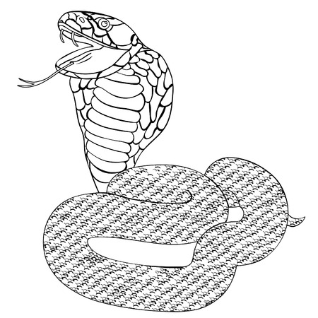 king cobra: green king cobra with fangs coloring vector illustration