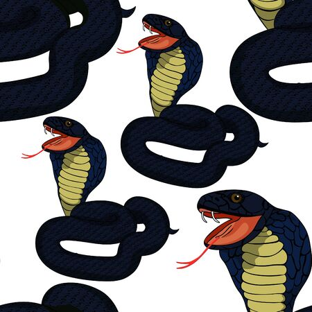 seamless pattern blue king cobra with fangs  vector illustration
