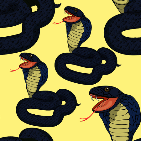 king cobra: seamless pattern blue king cobra with fangs on yellow  vector illustration