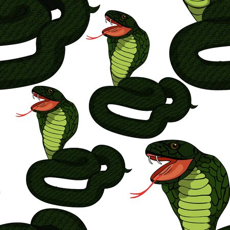 king cobra: seamless pattern dark  king cobra with fangs  vector illustration