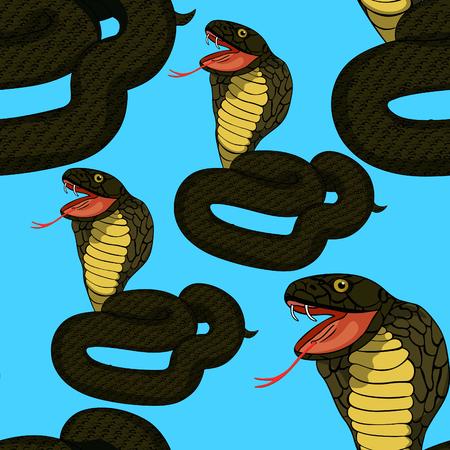 king cobra: seamless pattern green king cobra with fang  vector illustration