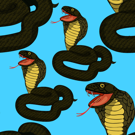 seamless pattern green king cobra with fang  vector illustration