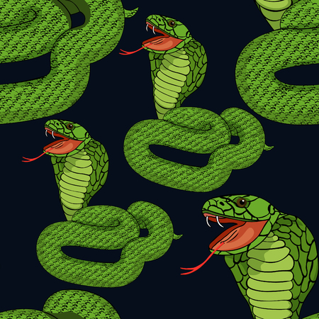 Seamless pattern green king cobra with fangs  at night vector illustration Illustration