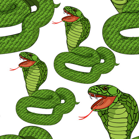 seamless pattern green king cobra with fangs  vector illustration