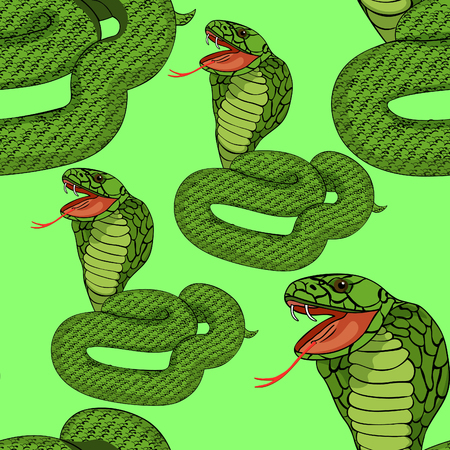king cobra: seamless pattern green king cobra with fangs on green vector illustration