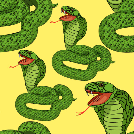 king cobra: seamless pattern green king cobra with fangs on yellow  vector illustration Illustration