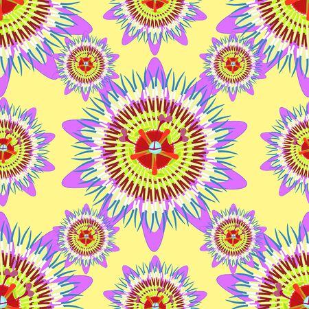 modèle passion transparente fleur bleue de fruits tropicaux sur le jaune. illustration vectorielle Vecteurs