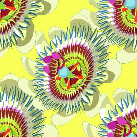 Seamless pattern passion flower Blue tropical shadow on yellow . vector illustration