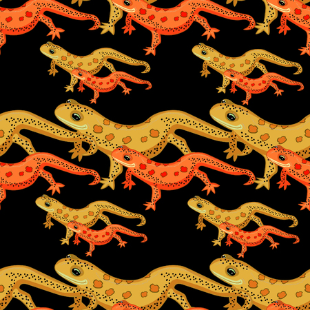 seamless pattern Triton East American red spotted salamanders on black . vector illustration