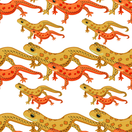 Seamless pattern Triton East American red spotted salamanders smiling . vector illustration