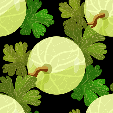 seamless pattern of branches with leaves gooseberry on black vector illustration