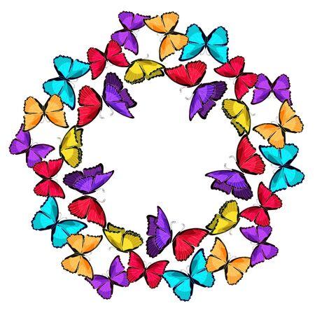 morpho: blue morpho  butterfly monarch circular pattern  vector illustration