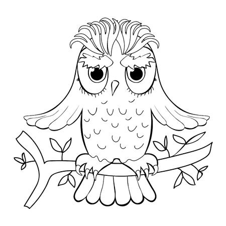 Vector De Dibujos Animados De Etiqueta Engomada De Búho Insignia ...