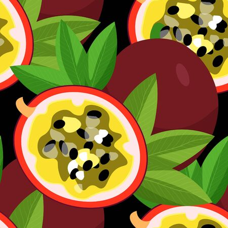 Pattern passion flower fruit maracuya. Illustration