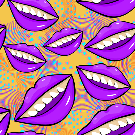 seamless pattern Disco sexy female purple  lips with teeth on yellow  vector illustration