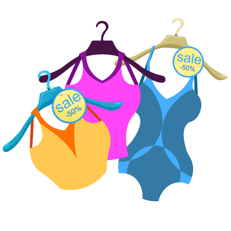 clothes rail: coat hanger with a bathing suit, a blue shirt  vector illustration