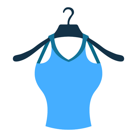 clothes rail: coat hanger with a blue shirt  vector illustration