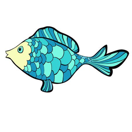 fish cartoon a blue cute  Vector illustration
