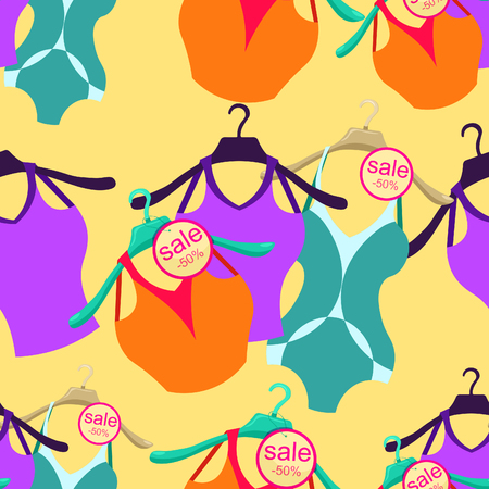 clothes rail: seamless pattern coat hanger with  bathing suit, T-shirt  vector illustration