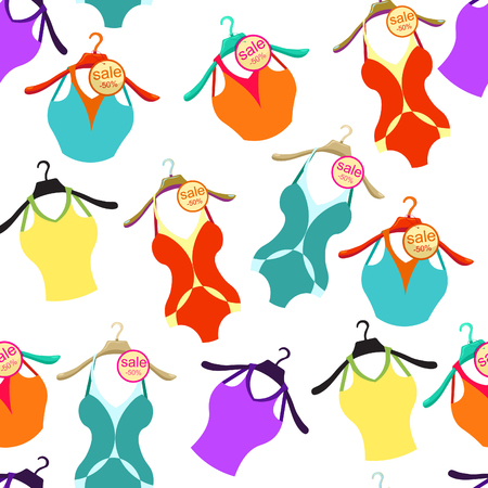 clothes rail: seamless pattern with coat hanger swimsuit, and  T-shirt   vector illustration