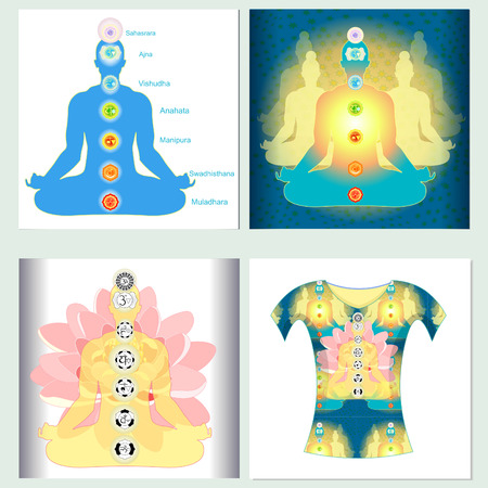 yoga meditation: Set design t-shirt india meditation yoga chakra  Vector illustration
