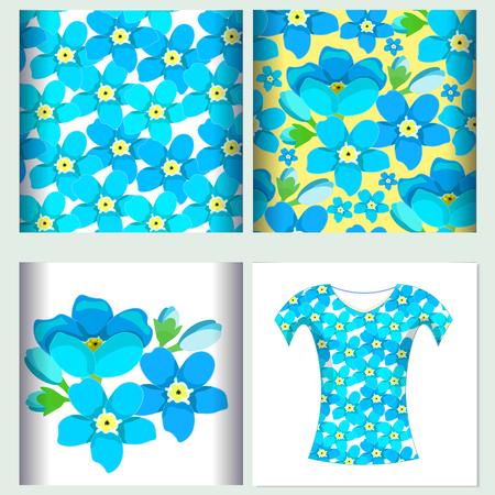 wading: Set for t-shirt design  seamless pattern  of forget-me-alpine flower  vector illustration
