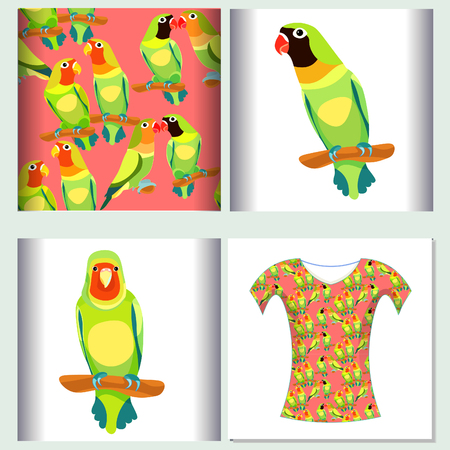 Stel voor het ontwerp van de t-shirtontwerp naadloze patroonillustratiepapegaai vectorillustratie
