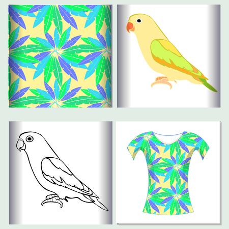 Stel voor het ontwerp van de t-shirtontwerp naadloze patroonillustratie papegaai vectorillustratie