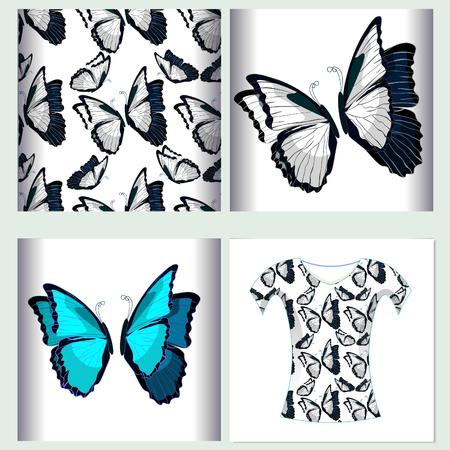 morpho: Set for t-shirt design seamless pattern the butterfly blue morpho monarch  vector illustration