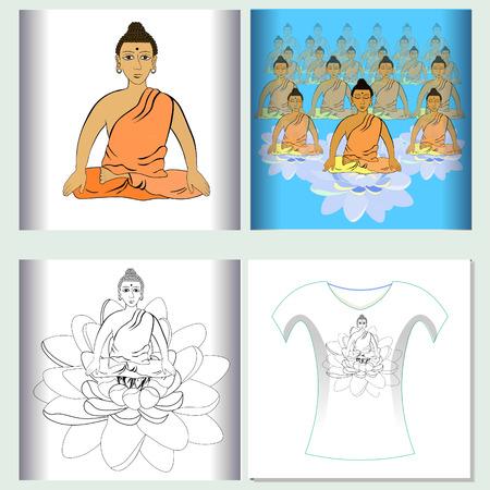 triad: Set of  design t-shirt sound ohm meditation.  Vector illustration Illustration