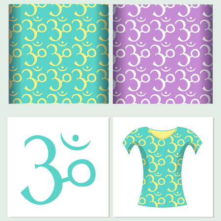 aum: Set of seamless pattern design t-shirt sound ohm meditation  Vector illustration
