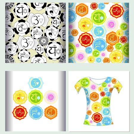 vishuddha: Set seamless pattern design t-shirt india a chakra  Vector illustration