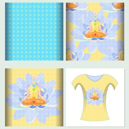 triad: Set seamless pattern design t-shirt india meditation yoga chakra. Vector illustration Illustration