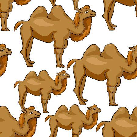 hump: Seamless pattern Camel redhead smiling a cartoon Vector illustration