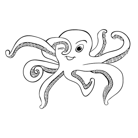 Coloring octopus with smile. vector illustration