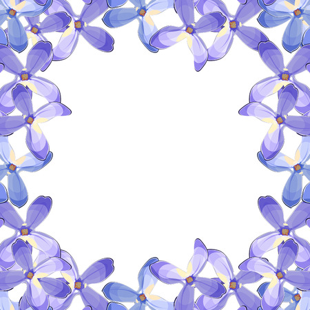 frame Lilac branch flowers blooming spring . Vector illustration Stock Vector - 76713265
