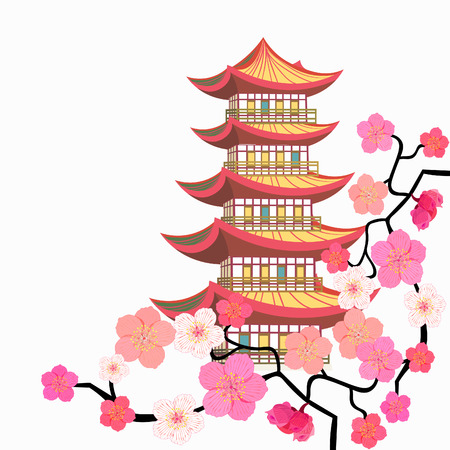 Sakura cherry Chinese pagoda five levels Vector illustration