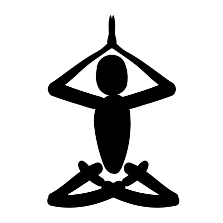 man sitting in lotus position meditating. vector illustration