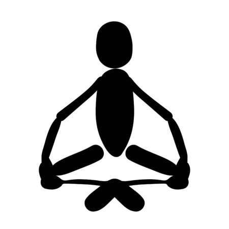 sahasrara: man sitting in lotus position meditating. vector illustration