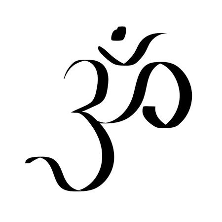Ohm sign a om sound  meditating logo  vector illustration
